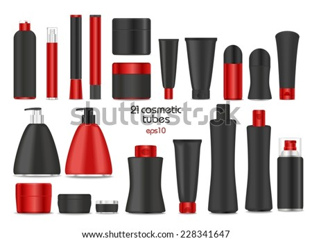 Blank cosmetic tubes  on white background. Black and red colors. Place for your text. Vector - stock vector