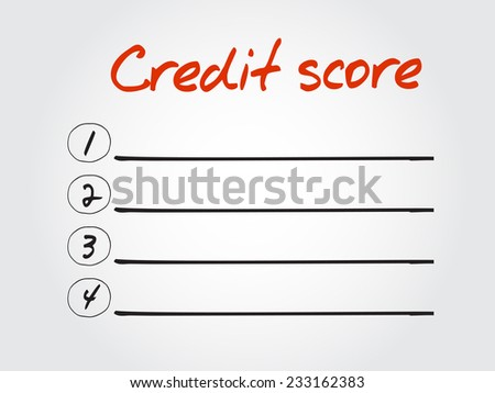 Blank Credit score list, vector concept background - stock vector