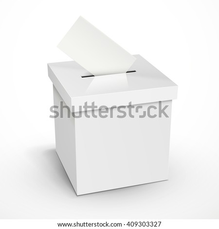 blank 3d illustration white voting box isolated on white background - stock vector