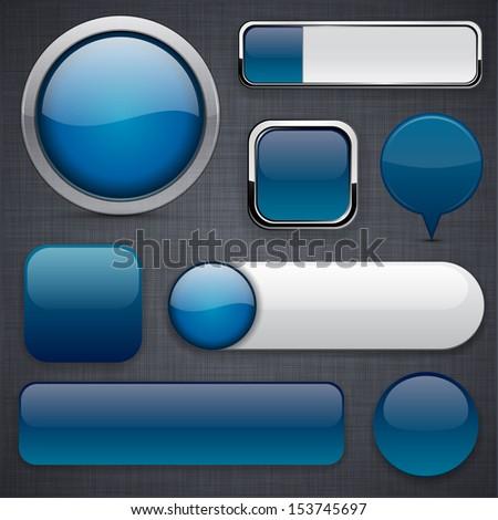 Blank Dark-blue web buttons for website or app. Vector eps10. - stock vector