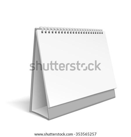 blank desktop calendar isolated on white background - stock vector