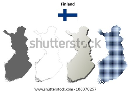 Blank detailed contour maps of Finland - vector version - stock vector