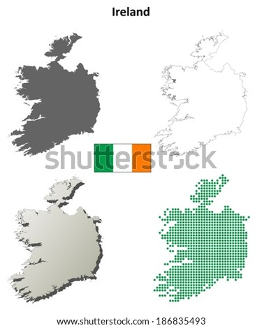 Blank detailed contour maps of Ireland - vector version - stock vector