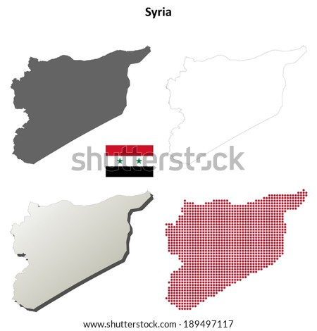 Blank detailed contour maps of Syria - vector version - stock vector