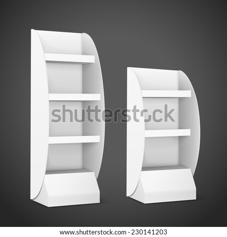 blank displays with shelves isolated on black background - stock vector