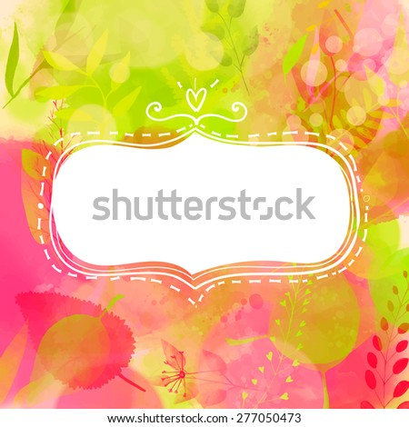 Blank doodle decorative frame. Nature inspired pink and green background with watercolor texture and leaves. Vector design for summer sale, banners, cards. - stock vector