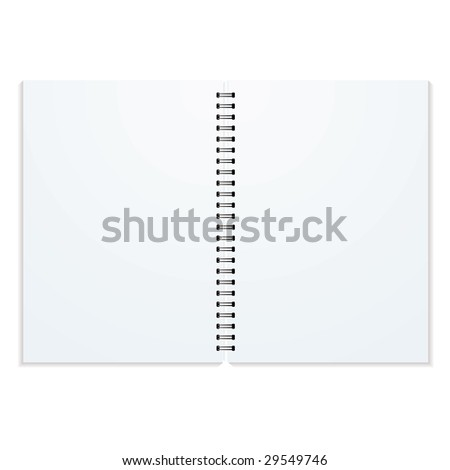 Blank double paged ring binder with drop shadow and copy space - stock vector