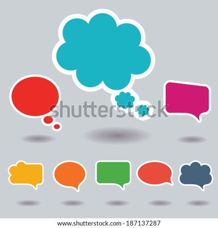 Blank empty colorful speech bubbles collection set with shadows and white border stroke isolated on gray background. Vector illustration  - stock vector