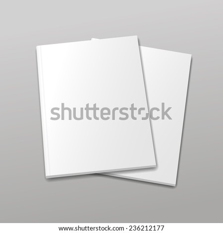 Blank empty magazine or book templateon a gray background with shadows. vector - stock vector