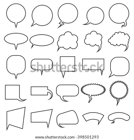 Blank empty speech bubbles set. Collection for infographics vector illustration - stock vector