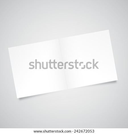 Blank empty two fold paper square brochure mockup / eps10 vector illustration / - stock vector