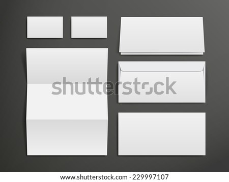 blank envelopes, business card and folder over black background - stock vector