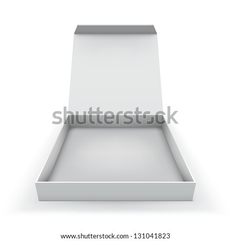 Blank flat box with opened cover isolated on white background. - stock vector