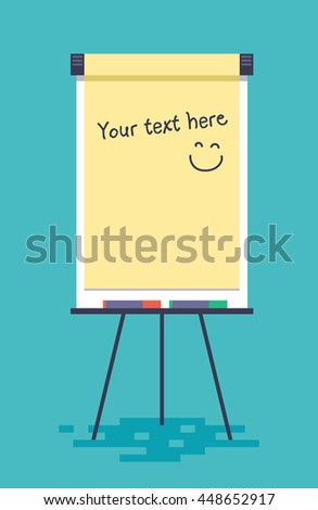 Blank flip chart with markers. Vector illustration in flat style. - stock vector