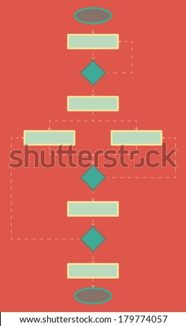 Blank flowchart. Flat style. - stock vector