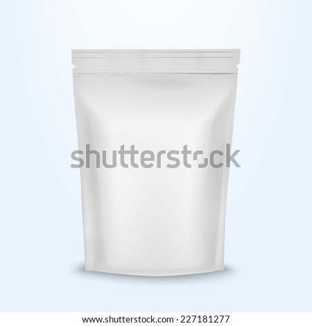 Blank Foil Food Ziplock Bag Packaging Design Aluminum  - stock vector