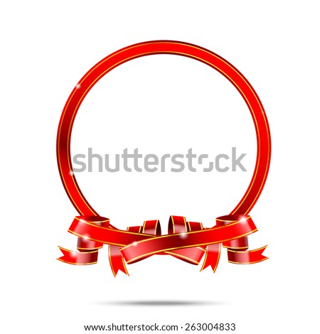 Blank for copy space red and gold ribbon tag banner vector illustration - stock vector