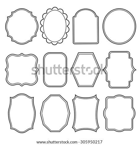 Blank frame and label mega set Vintage Retro Vector illustration - stock vector