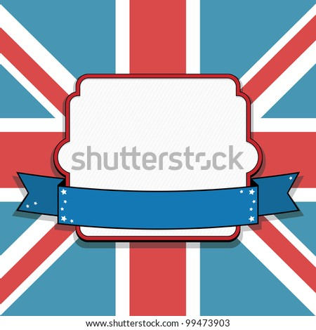 blank frame and ribbon on union jack background - stock vector