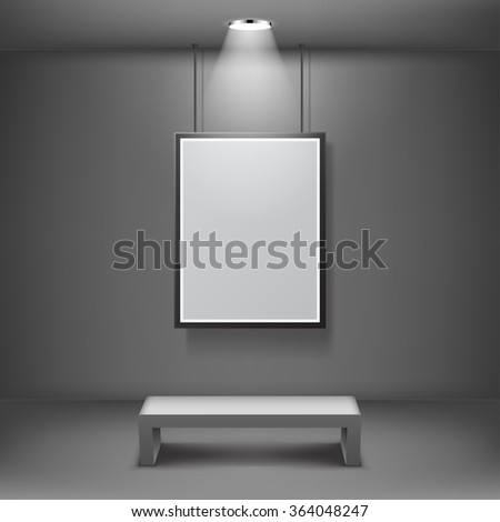Blank frame in the gallery - stock vector