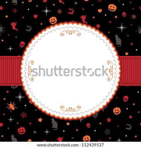 blank frame with ribbon on halloween pattern background - stock vector