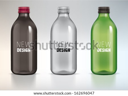 blank glass bottle for new design - stock vector