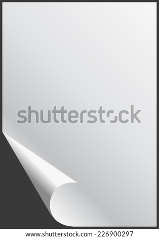 Blank glossy Empty paper sheet with folded corner. Vector illustration - stock vector