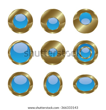 Blank gold blue web buttons for website or app. Vector - stock vector