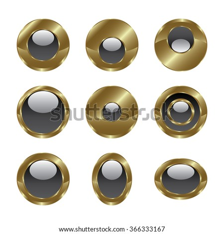 Blank gold grey web buttons for website or app. Vector - stock vector
