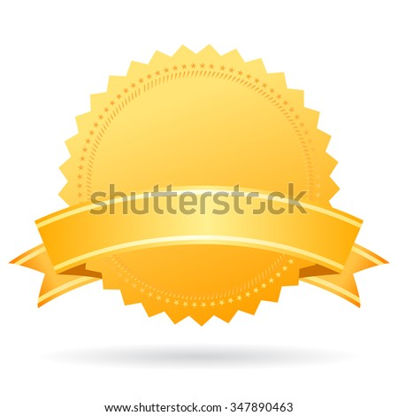Blank gold medal with ribbon illustration isolated on white background - stock vector