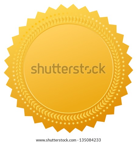 Blank gold seal, vector clip art - stock vector