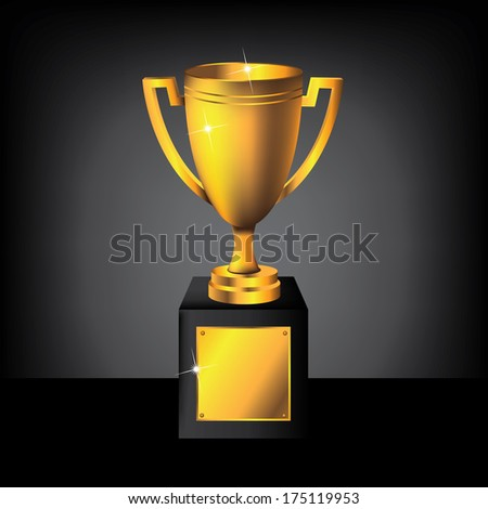 Blank golden trophy EPS 10 vector, grouped for easy editing. No open shapes or paths. - stock vector