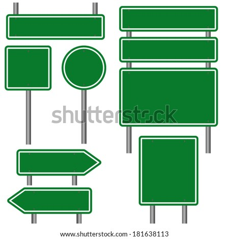 Blank Green Road Signs - stock vector