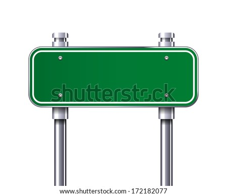 Blank Green traffic road sign vector - stock vector