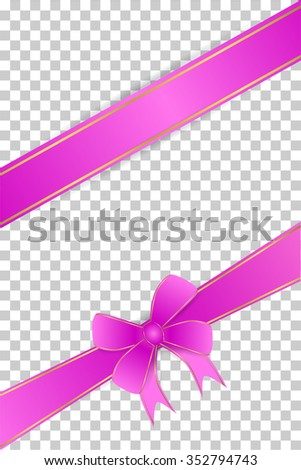 Blank Greeting Card With Purple Ribbon at transparent effect background  - stock vector
