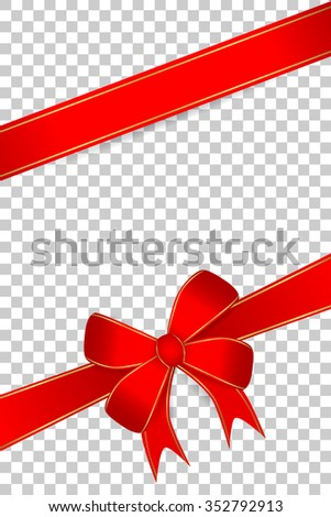 Blank Greeting Card With Red Ribbon at transparent effect background  - stock vector