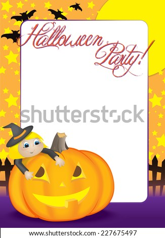 Blank Halloween Party invitation or holiday flyer with a Cute Blonde girl dressed as a witch, climbing on top of a friendly pumpkin.  - stock vector