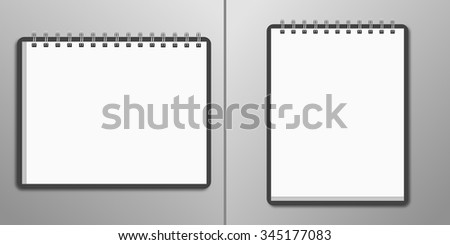 Blank horizontal and vertical spiral notebook - stock vector