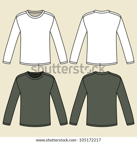 Blank long-sleeved T-shirts template - stock vector