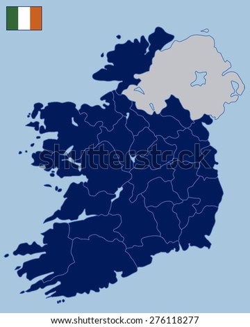 Blank Map of Republic of Ireland - stock vector
