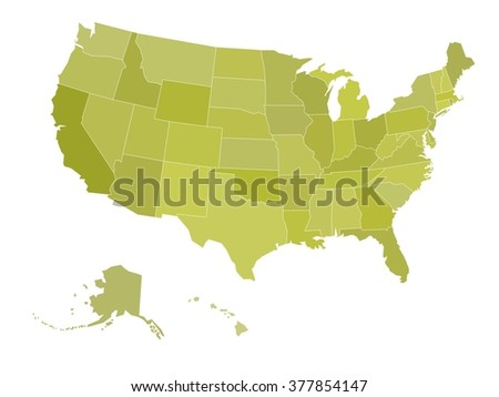 Blank map of United states of America. Vector illustration in green shades on white background. - stock vector