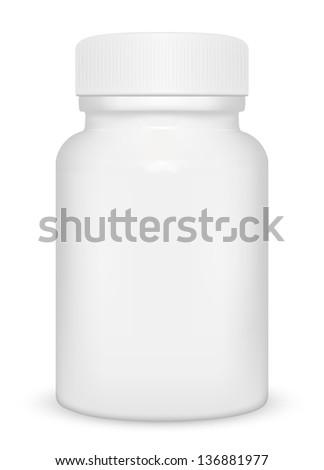 Blank medicine bottle isolated on white background, illustration. - stock vector