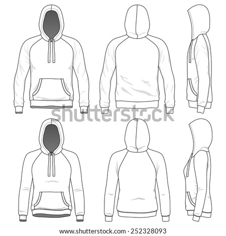 Blank Men's and Women's raglan hoodies in front, back and side views. Vector illustration. Isolated on white.  - stock vector