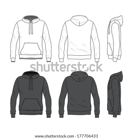 Blank Men's hoodie in front, back and side views. Vector illustration. Isolated on white. - stock vector