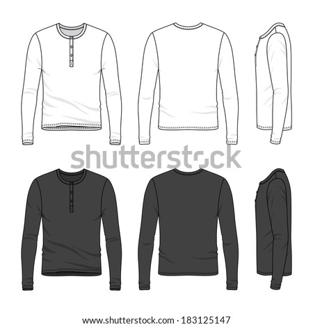 Blank Men's long sleeve top in front, back and side views. Top neck with button placket. Vector illustration. Isolated on white. - stock vector