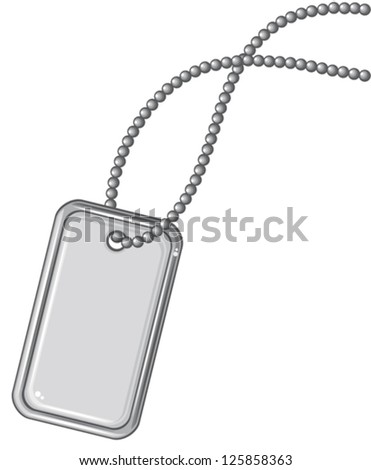blank metallic identification plate (vector identity tag or dog tag or identity plate, aluminum plate dog tag, military dog tags with metal chain of spheres) - stock vector