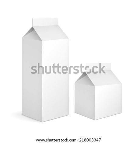 blank milk carton packages isolated on white - stock vector