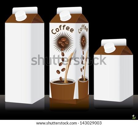 Blank milk or coffee drink pack. Vector illustration - stock vector