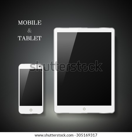 blank mobile and tablet set isolated on black background - stock vector
