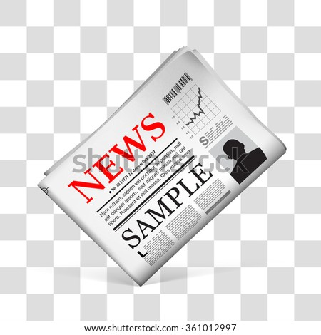 Blank newspaper with perforated edges and texture on checkered background.  Vector illustration - stock vector